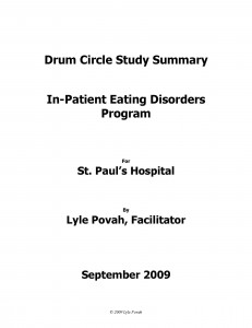 Lyle Povah: Eating Disorders Drumming Research St. Paul's Hospital 2009